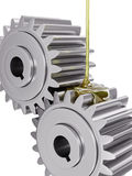 Oiling Gears Closeup 3d Illustration. On White Background Royalty Free Stock Images