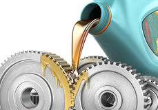 Oiling Gears. Oiling Gears isolated on a white backgroundn. 3d illustration Stock Photo