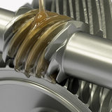 Oiling Gears. Oiling of worm gear concept Royalty Free Stock Photography