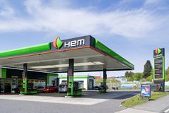 HEM gas station. The Oilinvest Group refines crude oil and markets refined oil products primarily under the Tamoil and the HEM brands in Europe stock image