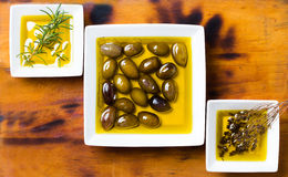 Oilive oil with olives and herbs on wooden background Stock Images