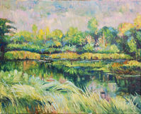 Oill color painting of landscape on canvas Royalty Free Stock Image