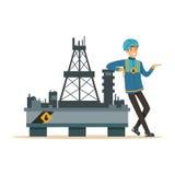 Oilman που στέκεται δίπλα σε μια πλατφόρμα διατρήσεων πλατφορμών άντλησης πετρελαίου, μια εξαγωγή βιομηχανίας πετρελαίου και ένα  διανυσματική απεικόνιση