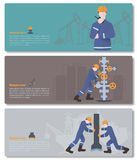 Oilman, gasman or oil and gas industry worker on production vect. Baners with oilman, gasman or oil and gas industry worker on production vector illustration Royalty Free Stock Image