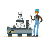 Oilman inspecting equipment on an oil rig drilling platform, oil industry extraction and refinery production vector. Illustration on a white background royalty free illustration