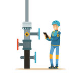 Oilman inspecting an oil pipeline, oil industry extraction and refinery production vector Illustration. On a white background royalty free illustration