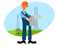 Oilman with plan. Vector illustration of a oilman with plan Stock Image