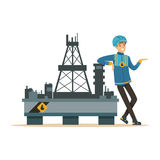 Oilman standing next to an oil rig drilling platform, oil industry extraction and refinery production vector Royalty Free Stock Photo