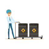 Oilman worker filling oil barrels, oil refinery production and transportation vector Illustration. On a white background Stock Images