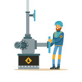 Oilman working on an oil pipeline, oil industry extraction and refinery production vector Illustration. On a white background vector illustration