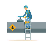 Oilman working on an oil pipeline, transportation of oil and petrol vector illustration. On a white background Royalty Free Stock Photos