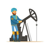 Oilman working on an oil rig drilling platform, oil industry extraction and refinery production vector Illustration. On a white background royalty free illustration