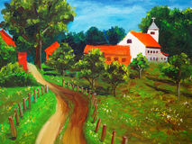 Oil Painting - Countryside Royalty Free Stock Photos