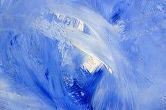 Oilpainting blu sulla tela di canapa 2 Fotografia Stock Libera da Diritti