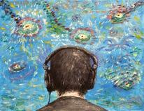 Oilpainting - escutando a música imagem de stock royalty free