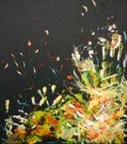 Oilpainting - esplosione pricipalmente di colore giallo e di bianco Immagini Stock Libere da Diritti