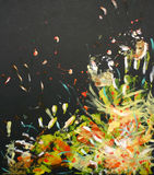 Oilpainting - explosion of mainly yellow and white. This is a painting I made a few years ago with oil paint on black carton stock illustration