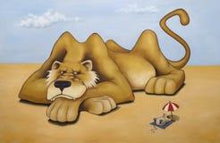 Oilpainting - Löwe und Maus stockfotos