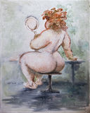 Oilpainting - Obese Woman Stock Photography