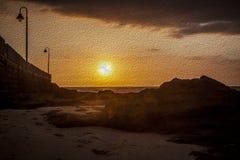 Oilpainting Sonnenuntergang Lizenzfreie Stockfotografie