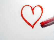 Oilpastel Heart. Red heart drawn by an oilpastel Royalty Free Stock Images
