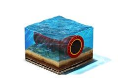 Oilpipeline sous l'eau au fond Photos stock