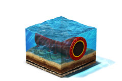 Oilpipeline under längst ner vatten Arkivfoton