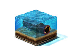 Oilpipeline unter Wasser an der Unterseite Lizenzfreies Stockbild