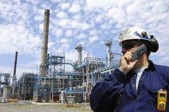 Oilrefinery et ingénieur Images libres de droits