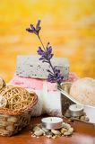 Oils candles soaps stones flower spa concept Royalty Free Stock Photo