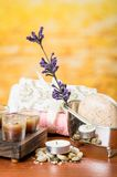 Oils candles soaps stones flower spa concept Stock Photos