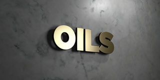 Oils - Gold sign mounted on glossy marble wall  - 3D rendered royalty free stock illustration. This image can be used for an online website banner ad or a Royalty Free Stock Images