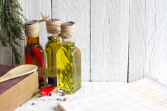 Oils with herbs and spices food concept Stock Photo