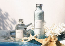 Oils and scrubs with starfish Stock Photo