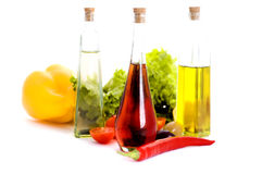 Oils and vegetables Stock Images