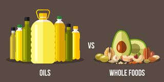 Oils vs whole foods, healty eating concept. Vector illustration of cooking oils vs. high-fat whole foods. Healthy eating concept. Flat style Royalty Free Stock Images