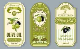 Oilve oil labels Stock Photo
