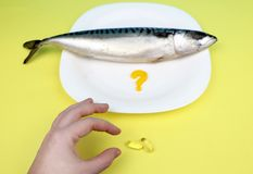 Oily fish mackerel and or food supplement omega-3 in capsules. stock photo