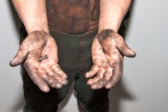 Oily hands Stock Image