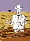 Oily Oil Man Explains Offshore Oil Spill Royalty Free Stock Photography