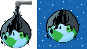 Oily planet. Illustration depicting an oil spill or polution Stock Photography