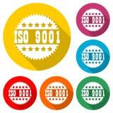 OIN 9001 a certifié l'icône de signe, icône de couleur avec la longue ombre Photos stock