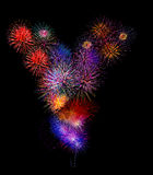 OIN colorée de feu d'artifice de y de fireworksalphabet coloré belle Images stock