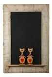 OIN en bois de cadre reprise par tableau de chats d'amour de valentines de vintage Photographie stock