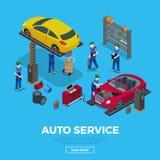 OIN plate du service des réparations de voiture de travailleurs d'outil de travailleur 3d illustration libre de droits