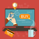 OInline het winkelen smartphoneelektronische handel het winkelen elementen Stock Foto's