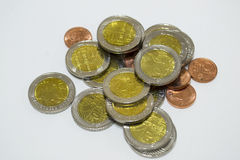 Сoins. A few coins on a white background Stock Photography