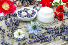 Ointment with lavender and roses Royalty Free Stock Image