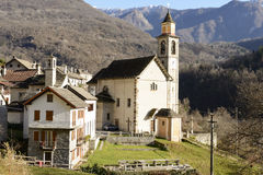 Oira village and church, Ossola, Italy Stock Image