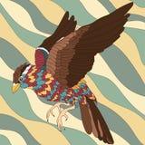 Oiseau abstrait avec les plumes colorées sur le fond onduleux Rétro composition Illustration Stock